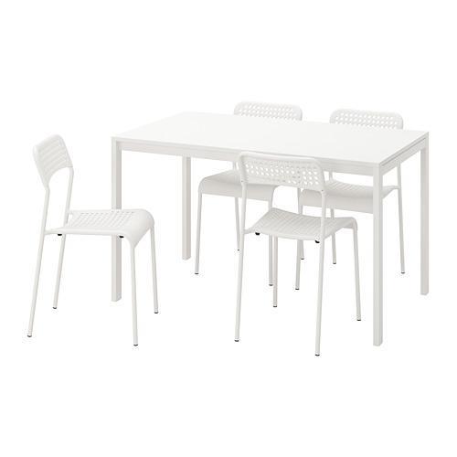 ADDE / MELLTORP table et chaise 4 blanc
