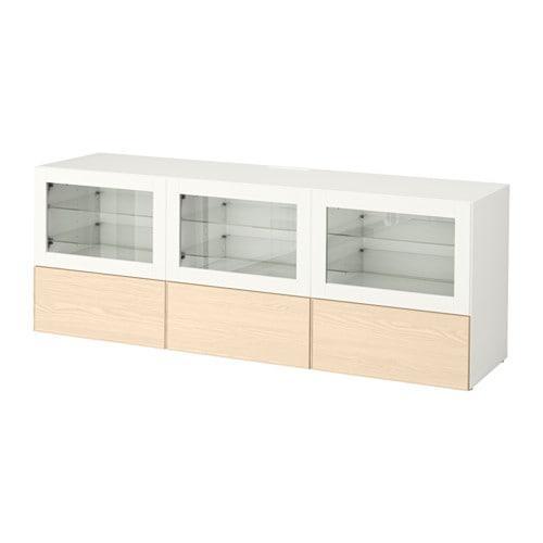 Binari Per Ante Scorrevoli Ikea.Besta Tv Stand Con Ante E Cassetti Inviken Bianco Vetro