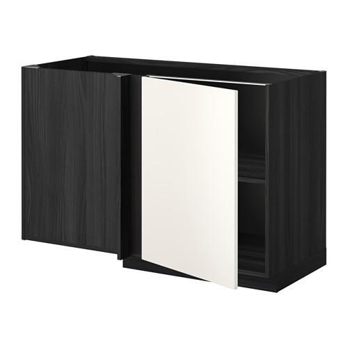 МЕТОД Угловой напольный шкаф с полкой - Веддинге белый, под дерево черный