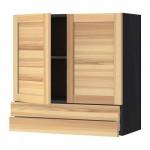 МЕТОД / МАКСИМЕРА Навесной шкаф/2дверцы/2ящика - под дерево черный, Торхэмн естественный ясень, 80x80 см