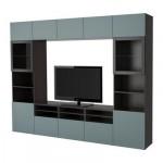 БЕСТО Шкаф для ТВ, комбин/стеклян дверцы - черно-коричневый/Вальвикен серо-бирюзовый, прозрачное стекло, направляющие ящика, плавно закр