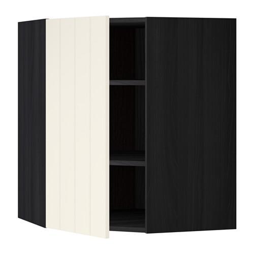 МЕТОД Угловой навесной шкаф с полками - 68x80 см, Хитарп белый с оттенком, под дерево черный