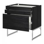 METODO / cabinet FORVARA Base 3front PNL / 2niz / 2sr cassetti - 80x60x60 cm Tingsrid legno nero, legno nero