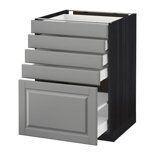 МЕТОД / МАКСИМЕРА Напольный шкаф с 5 ящиками - 60x60 см, Будбин серый, под дерево черный