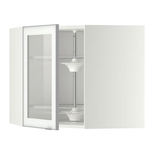 МЕТОД Углов навесн шк с врщ скц/сткл дв - 68x60 см, Ютис матовое стекло/алюминий, белый