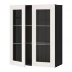 МЕТОД Навесной шкаф с полками/2 стекл дв - 80x100 см, Сэведаль белый, под дерево черный