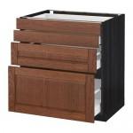 МЕТОД / МАКСИМЕРА Напольн шкаф 4 фронт панели/4 ящика - 80x60 см, Филипстад коричневый, под дерево черный