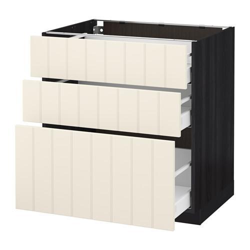 МЕТОД / МАКСИМЕРА Напольный шкаф с 3 ящиками - 80x60 см, Хитарп белый с оттенком, под дерево черный