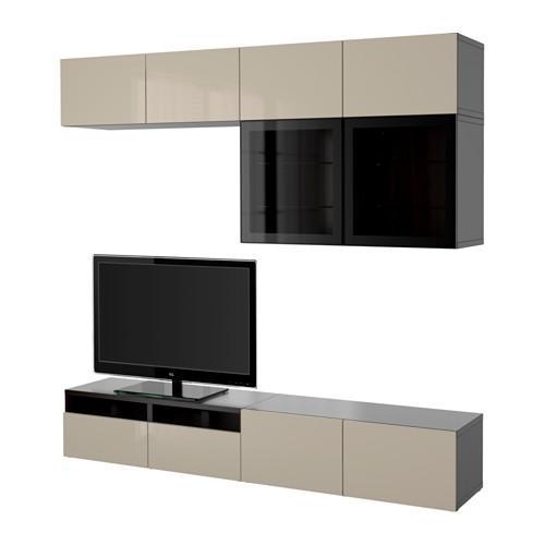 best tv schrank kombination glast ren schwarzbraun hochglanz selsviken beige. Black Bedroom Furniture Sets. Home Design Ideas