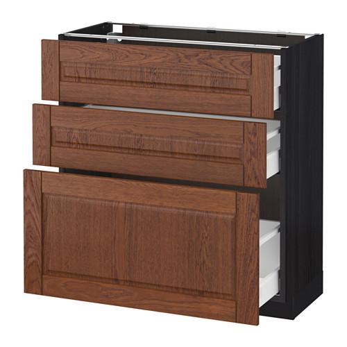 МЕТОД / МАКСИМЕРА Напольный шкаф с 3 ящиками - 80x37 см, Филипстад коричневый, под дерево черный