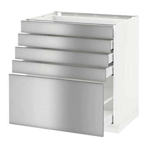 МЕТОД / МАКСИМЕРА Напольный шкаф с 5 ящиками - 80x60 см, Гревста нержавеющ сталь, белый