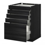 METHOD / wk FORVARA NPAP 5front / 4nzk / 2srd drawers - wood black, Tingsrid wood black, 60x60 cm