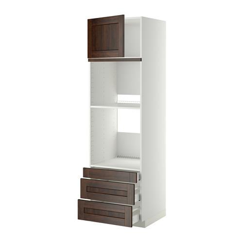 МЕТОД / МАКСИМЕРА Выс шкаф д/дхвк/комб дхвк+двр/3ящ - 60x60x200 см, Эдсерум под дерево коричневый, белый