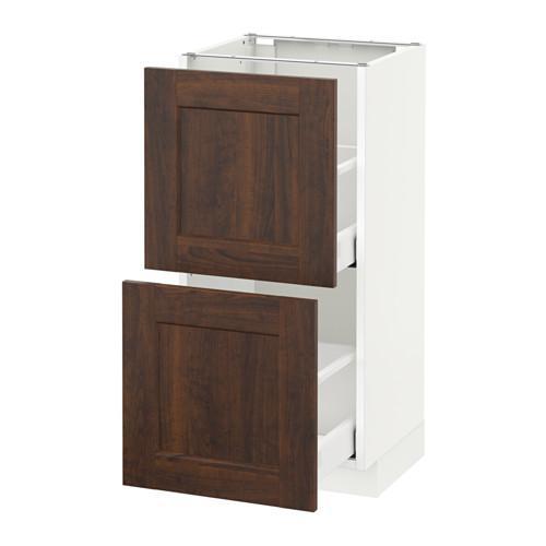 МЕТОД / МАКСИМЕРА Напольный шкаф с 2 ящиками - 40x37 см, Эдсерум под дерево коричневый, белый