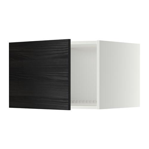 МЕТОД Верх шкаф на холодильн/морозильн - 60x40 см, Тингсрид под дерево черный, белый