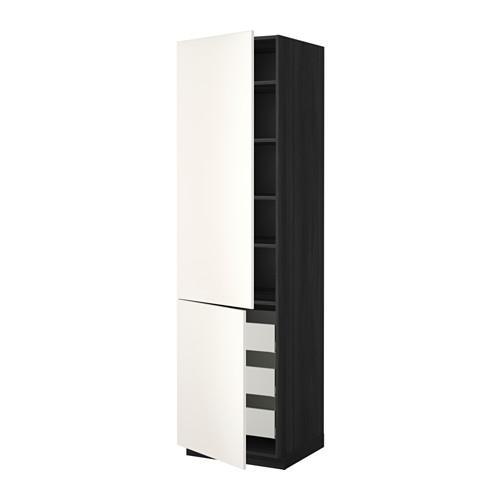 МЕТОД / МАКСИМЕРА Высокий шкаф+полки/3 ящика/2 дверцы - 60x60x220 см, Веддинге белый, под дерево черный