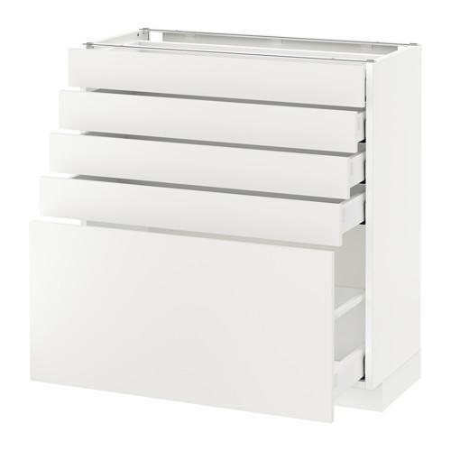 МЕТОД / МАКСИМЕРА Напольный шкаф с 5 ящиками - 80x37 см, Хэггеби белый, белый