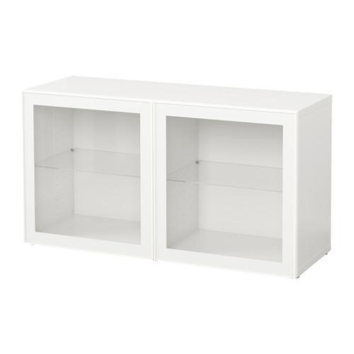 БЕСТО Стеллаж со стеклянн дверьми - белый/Глассвик белый/прозрачное стекло