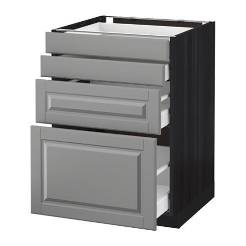 МЕТОД / МАКСИМЕРА Напольн шкаф 4 фронт панели/4 ящика - 60x60 см, Будбин серый, под дерево черный