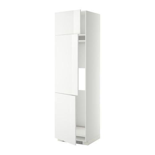 МЕТОД Выс шкаф для хол/мороз с 3 дверями - 60x60x220 см, Рингульт глянцевый белый, белый