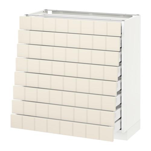 МЕТОД / МАКСИМЕРА Наполн шкаф 8 фронт/8 низк ящиков - 80x37 см, Хитарп белый с оттенком, белый