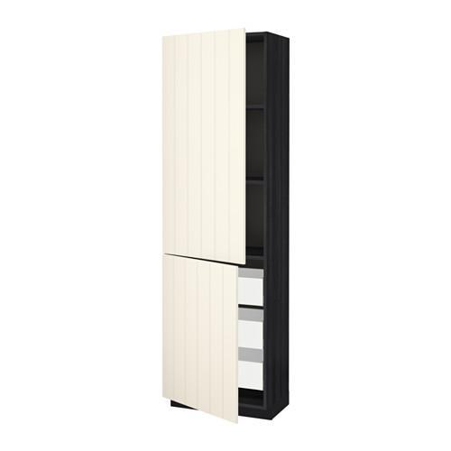 МЕТОД / МАКСИМЕРА Высокий шкаф+полки/3 ящика/2 дверцы - 60x37x200 см, Хитарп белый с оттенком, под дерево черный