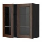 МЕТОД Навесной шкаф с полками/2 стекл дв - 80x80 см, Эдсерум под дерево коричневый, под дерево черный