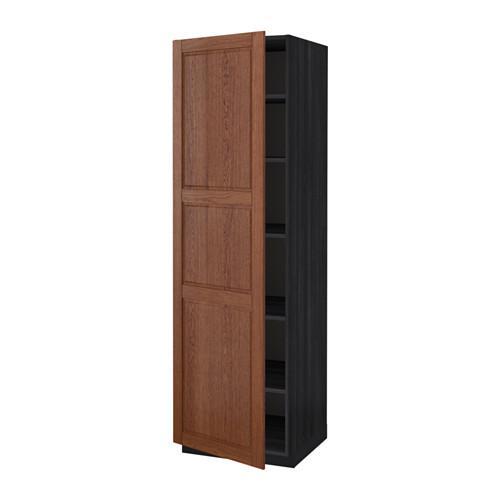 МЕТОД Высок шкаф с полками - 60x60x200 см, Филипстад коричневый, под дерево черный
