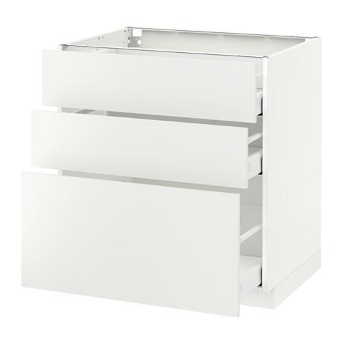 МЕТОД / МАКСИМЕРА Напольный шкаф с 3 ящиками - 80x60 см, Хэггеби белый, белый