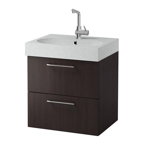 GODMORGON / Bråviken cabinet sinks with 2 drawers - black-brown / light gray