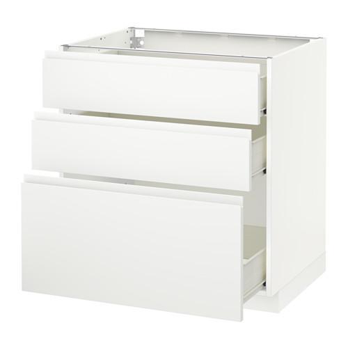 MÉTODO / mueble con cajones FORVARA Base 3 - blanco, blanco Vokstorp, 80x60 cm