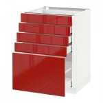 МЕТОД / МАКСИМЕРА Напольный шкаф с 5 ящиками - 60x60 см, Рингульт глянцевый красный, белый