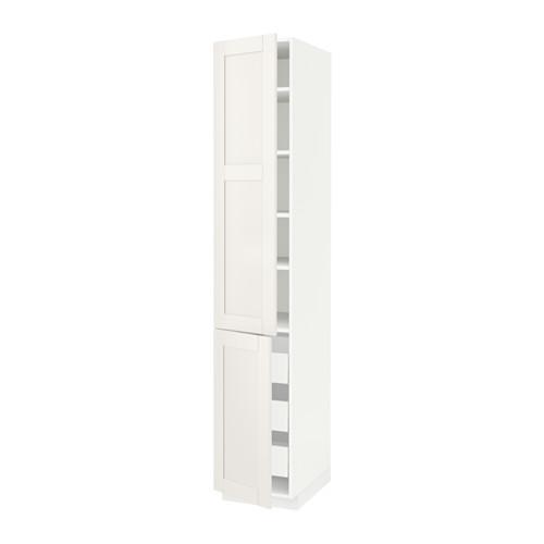 МЕТОД / МАКСИМЕРА Высокий шкаф+полки/3 ящика/2 дверцы - 40x60x220 см, Сэведаль белый, белый