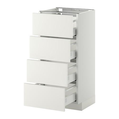 МЕТОД / МАКСИМЕРА Напольн шкаф 4 фронт панели/4 ящика - 40x37 см, Хэггеби белый, белый