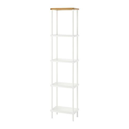 DYNAN rack bianco / bamboo 40x27x176 cm