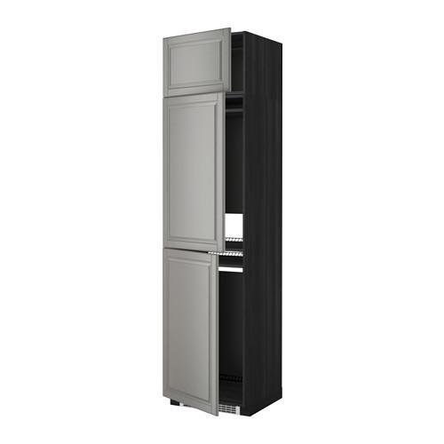 МЕТОД Выс шкаф для хол/мороз с 3 дверями - Будбин серый, под дерево черный