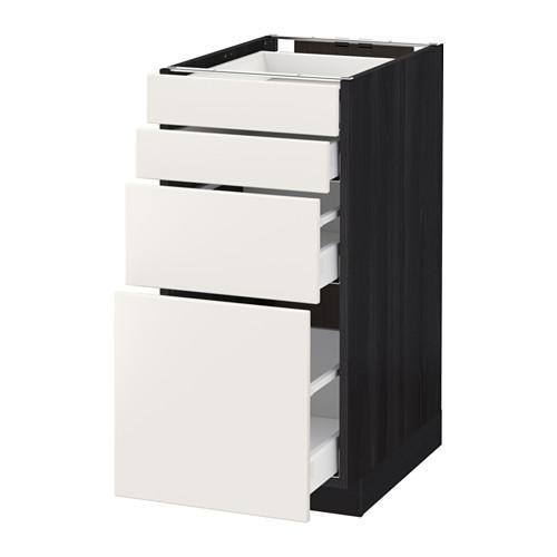 МЕТОД / МАКСИМЕРА Напольн шкаф 4 фронт панели/4 ящика - 40x60 см, Веддинге белый, под дерево черный