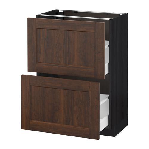 МЕТОД / МАКСИМЕРА Напольный шкаф с 2 ящиками - 60x37 см, Эдсерум под дерево коричневый, под дерево черный