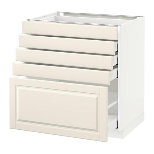 МЕТОД / МАКСИМЕРА Напольный шкаф с 5 ящиками - 80x60 см, Будбин белый с оттенком, белый