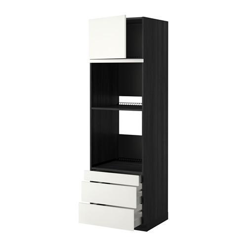 МЕТОД / МАКСИМЕРА Выс шкаф д/дхвк/комб дхвк+двр/3ящ - 60x60x200 см, Хэггеби белый, под дерево черный