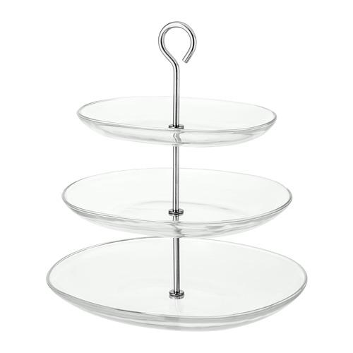 KVITTERA serving stand, 3 tier clear glass / stainless steel