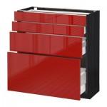 МЕТОД / МАКСИМЕРА Напольн шкаф 4 фронт панели/4 ящика - под дерево черный, Рингульт глянцевый красный, 80x37 см
