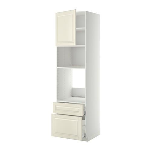 МЕТОД / МАКСИМЕРА Высок шкаф д/духовки/СВЧ/дверца/2ящ - 60x60x220 см, Будбин белый с оттенком, белый