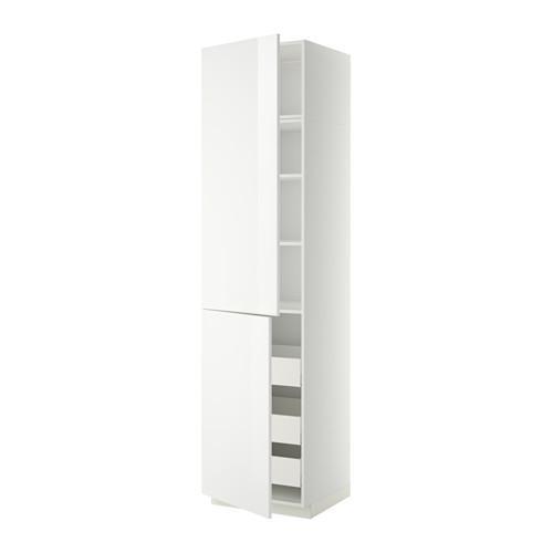 МЕТОД / МАКСИМЕРА Высокий шкаф+полки/3 ящика/2 дверцы - 60x60x240 см, Рингульт глянцевый белый, белый