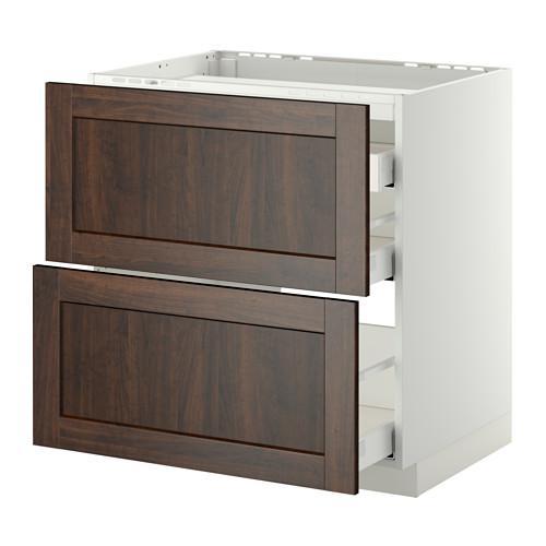 МЕТОД / МАКСИМЕРА Напольн шкаф/2 фронт пнл/3 ящика - 80x60 см, Эдсерум под дерево коричневый, белый