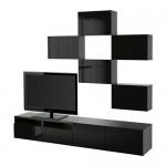 БЕСТО Шкаф для ТВ, комбинация - черно-коричневый/Сельсвикен глянцевый/черный, направляющие ящика, плавно закр