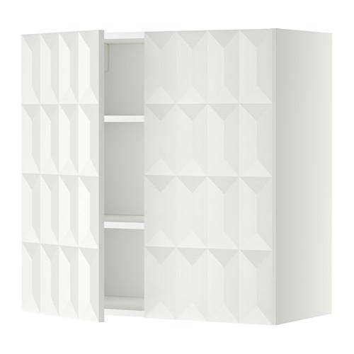 МЕТОД Навесной шкаф с полками/2дверцы - 80x80 см, Гэррестад белый, белый