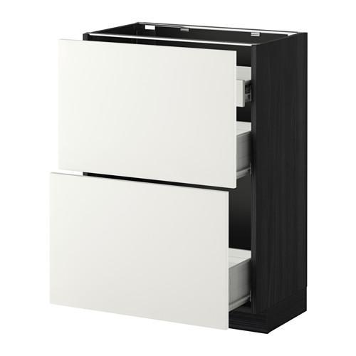 VERFAHREN / FORVARA Nap Schrank 2 FRNT PNL / 1nizk / 2sr Schubladen - Holz schwarz, weiß Heggebi, 60x37 cm
