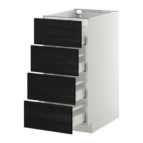 МЕТОД / МАКСИМЕРА Напольн шкаф 4 фронт панели/4 ящика - 40x60 см, Тингсрид под дерево черный, белый