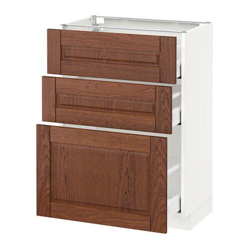 МЕТОД / МАКСИМЕРА Напольный шкаф с 3 ящиками - 60x37 см, Филипстад коричневый, белый